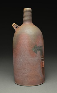 Bottle, Wood Fired Reduction Cooled Stoneware, 9x5x5