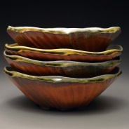 Faceted Bowls, Soda Fired Stoneware, 6x7x7