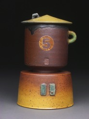 Lidded Cup and Saucer, Soda Fired Stoneware, 6x4x4