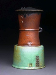 Lidded Cup and Saucer, Soda Fired Stoneware, 9x4x4