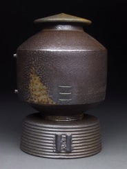Lidded Jar with Base, Soda Fired Stoneware, 9x6x6