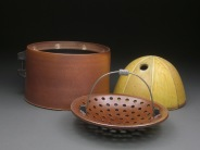 Lidded Jar with Serving Basket, Soda Fired Stoneware, 6x13x13