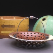 Lidded Jar with Serving Basket, Soda Fired Stoneware, 6x15x8. jpg