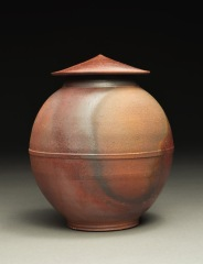 Lidded Jar, Wood Fired Reduction Cooled Stoneware, 6x5x5