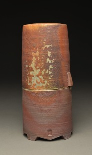 Lidded Jar, Wood Fired Reduction Cooled Stoneware, 9x4x4