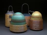 Lidded Jars, Soda Fired Stoneware, 9x15x14