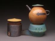 Teapot and Base with Sugar Storage Jar, Soda Fired Stoneware, 8x9x5