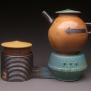 Teapot and Base with Sugar Storage Jar, Soda Fired Stoneware, 8x9x5