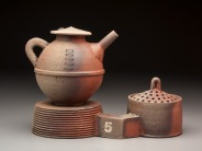 Teapot and Base with Sugar Storage Jar, Wood Fired Reduction Cooled Stoneware, 9x9x6