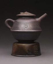 Teapot and Base, Wood Fired Reduction Cooled Stoneware, 7x6x5