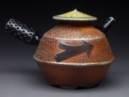 Teapot with Side Handle, Soda Fired Stoneware, 5x6x5