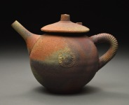 Teapot, Wood Fired Reduction Cooled Stoneware, 6x6x6. jpg