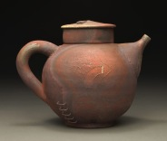 Teapot, Wood Fired Reduction Cooled Stoneware, 6x7x6