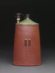 Triangular Bottle with Cork Stand, Soda Fired Stoneware, 8x4x4