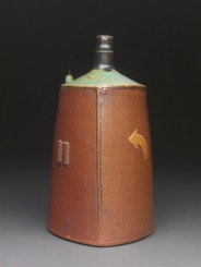 Triangular Bottle with Cork Stand, Soda Fired Stoneware, 8x4x4